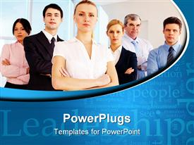 PowerPoint template displaying pretty leader looking at camera with business team behind