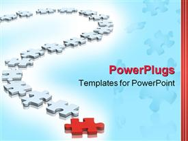 PowerPoint template displaying puzzle of blue and red color in the background.