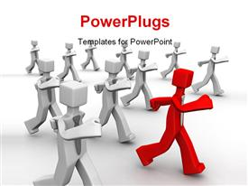 PowerPoint template displaying red leader leading group of businessman 3D in the background.