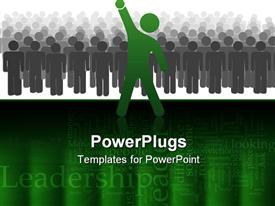 Standout leader ahead of a large crowd or team of people celebrates success with raised fist powerpoint design layout