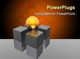 PowerPoint template displaying round glowing yellow ball sits on four support pillars