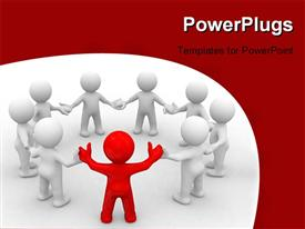 PowerPoint template displaying team of 3D cute people in a circle with a leader in the background.