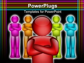 Team representation with blue red green and orange colors powerpoint design layout