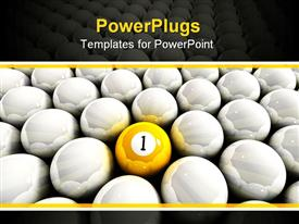 PowerPoint template displaying a yellow ball with lots of white shnny balls around it