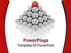 PowerPoint template displaying pyramid made of glowing gray spheres and red sphere on top of pyramid on reflective surface