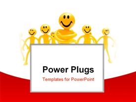 PowerPoint template displaying leadership concept. A leader with his people in the background.