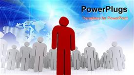 One 3D human stand out of the crowd - dramatic angle powerpoint theme