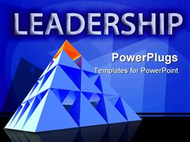PowerPoint template displaying leadership theme with red triangle on top of pyramid, management, leader,  business