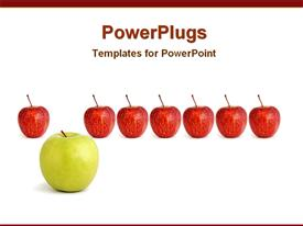Big green apple with other red apples template for powerpoint