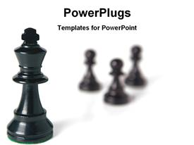 Black chess king with pawns powerpoint template