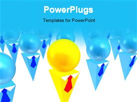 PowerPoint template displaying lots of 3D objects portraying leadership