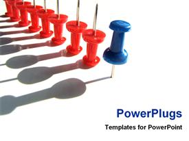 Blue thumbtacks leading other reds template for powerpoint