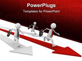 PowerPoint template displaying three human characters running on red and white arrows