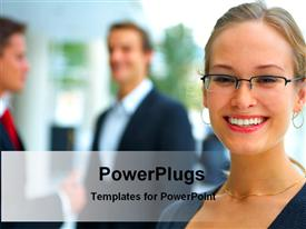 Business lady in working place powerpoint design layout