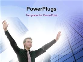 PowerPoint template displaying business man with arms up symbolizing victory in the background.