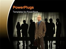 PowerPoint template displaying business man standing in front of silhouette of discussing men and women
