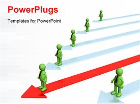 PowerPoint template displaying leadership depiction with distinct leader on red arrow over white background