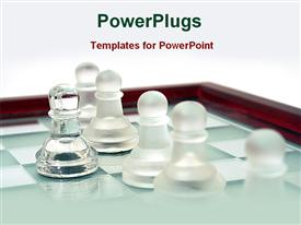 PowerPoint template displaying crystal chess in the background.