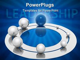 PowerPoint template displaying lots of silver and blue colored balls with a text that spell out the word