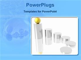 Golden ball in the top of the silver cylinder powerpoint template