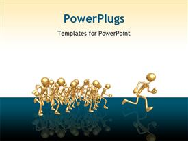 PowerPoint template displaying first place ahead of gold runners race on blue and white background