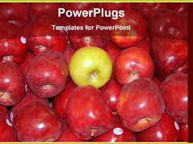 Green apple among red apples template for powerpoint