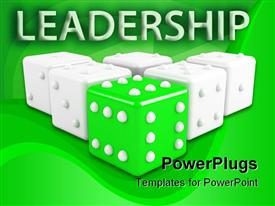 Green dice leading some grey ones. winning leadership conception powerpoint theme