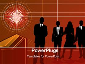Group of business people with red background presentation background