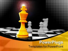PowerPoint template displaying king and other chess pieces on the board in the background.