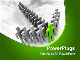 PowerPoint template displaying ash and silver colored leadership depiction on a green and ash background