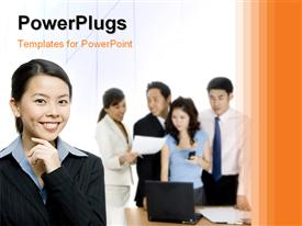 PowerPoint template displaying office workers discussing over table with beautiful Asian woman smiling