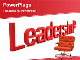 Leadership armchair in front of a leadership word powerpoint design layout