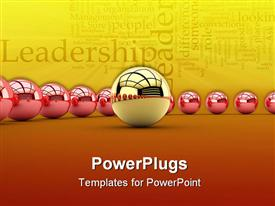 Leadership concept with golden sphere and many red spheres powerpoint design layout