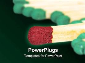 Macro of colored matches head over white template for powerpoint