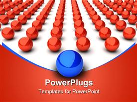 PowerPoint template displaying main blue sphere and many red spheres in the background.