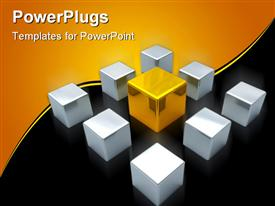 Main gold cube in center and steel cubes powerpoint design layout