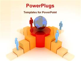 PowerPoint template displaying business competition metaphor with people climbing stairs toward globe