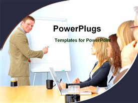 Man giving business presentation powerpoint template