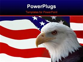 National bird of united States Of America, majestic bald eagle against a Flag background template for powerpoint