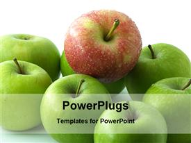 Red apple among green apples powerpoint template