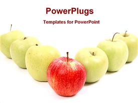 Red apples in front of greens showing leadership powerpoint design layout