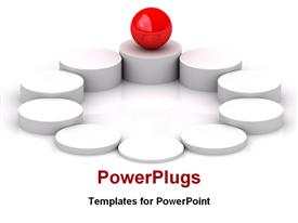 PowerPoint template displaying red crystal ball on the top rounded column in the background.