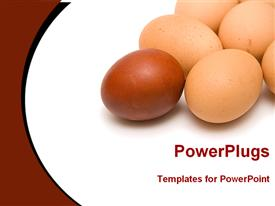 Red egg in front of yellow eggs powerpoint template