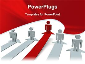 PowerPoint template displaying red model leading its team in the background.