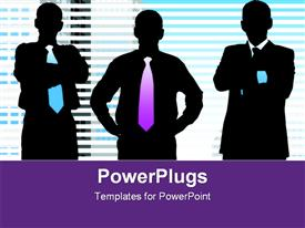 PowerPoint template displaying silhouette of leaders with a office blinds conceptual background