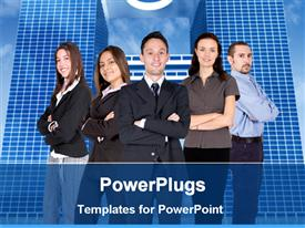 PowerPoint template displaying team of five business people, three women and two men with crossed arms standing in front of office buildings