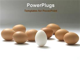 White egg among with golden eggs powerpoint design layout
