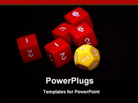 Yellow dice with red dices template for powerpoint
