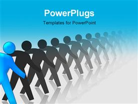 PowerPoint template displaying blue Man Standing Out In A Line Of Black Men