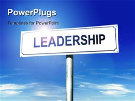 PowerPoint template displaying a sign of leadership with sky in the background